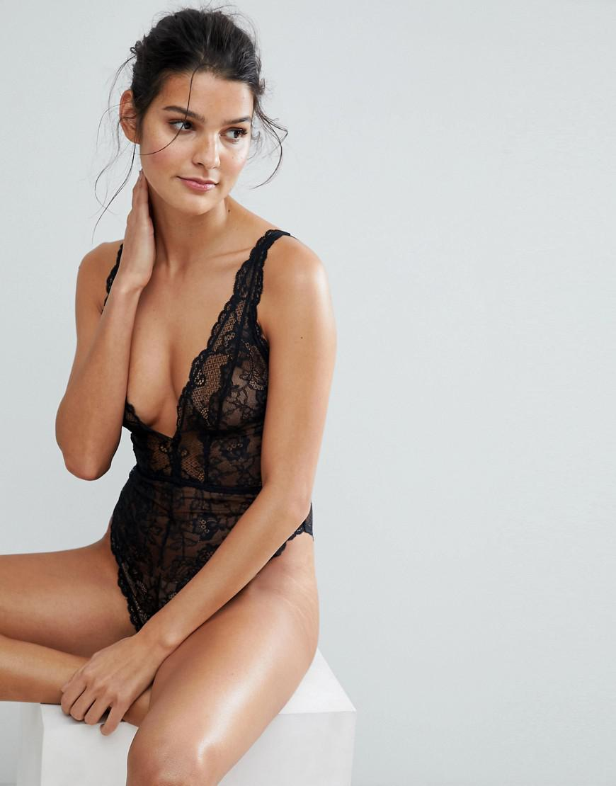 f06fee871b70 ASOS Blair High Leg Lace Bodysuit With Lace Up Back in Black - Lyst