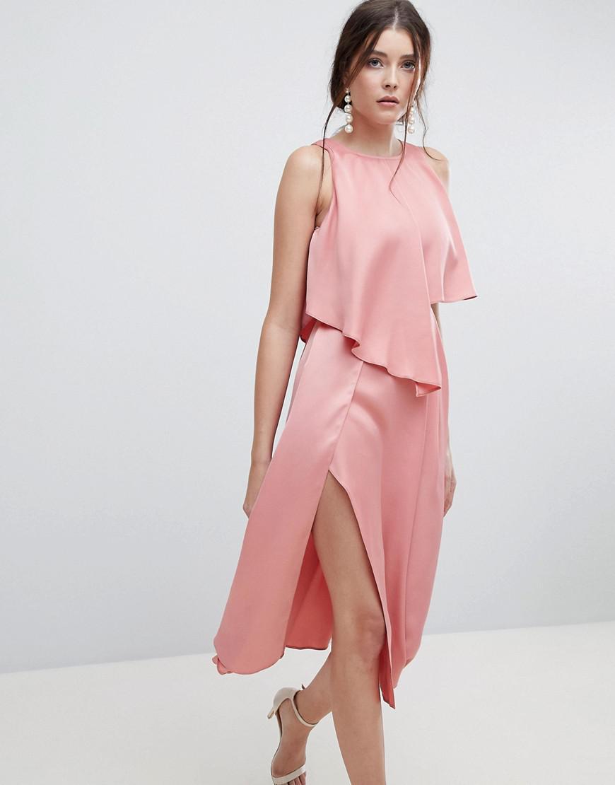 08a5ade3daf85 Lyst - ASOS Asymmetric Crop Top Midi Dress With Thigh Split in Pink