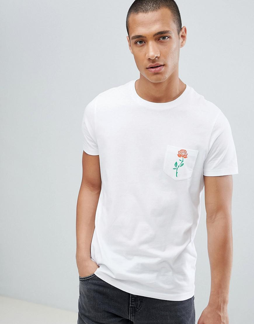 Lyst Asos Design T Shirt With Rose Print Pocket In White
