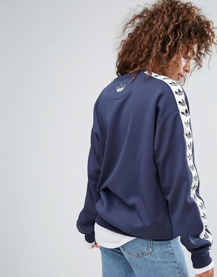 Blue Adidas Stripe Tnt Crew Navy Side Taped Originals In Sweat Neck fqfrwIv