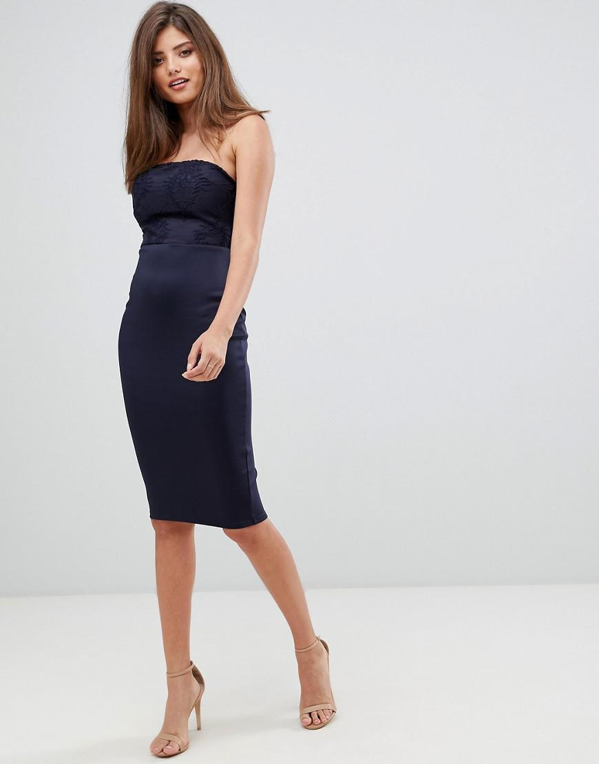 169028521924a AX Paris Bodycon Midi Dress With Lace Detail in Blue - Lyst