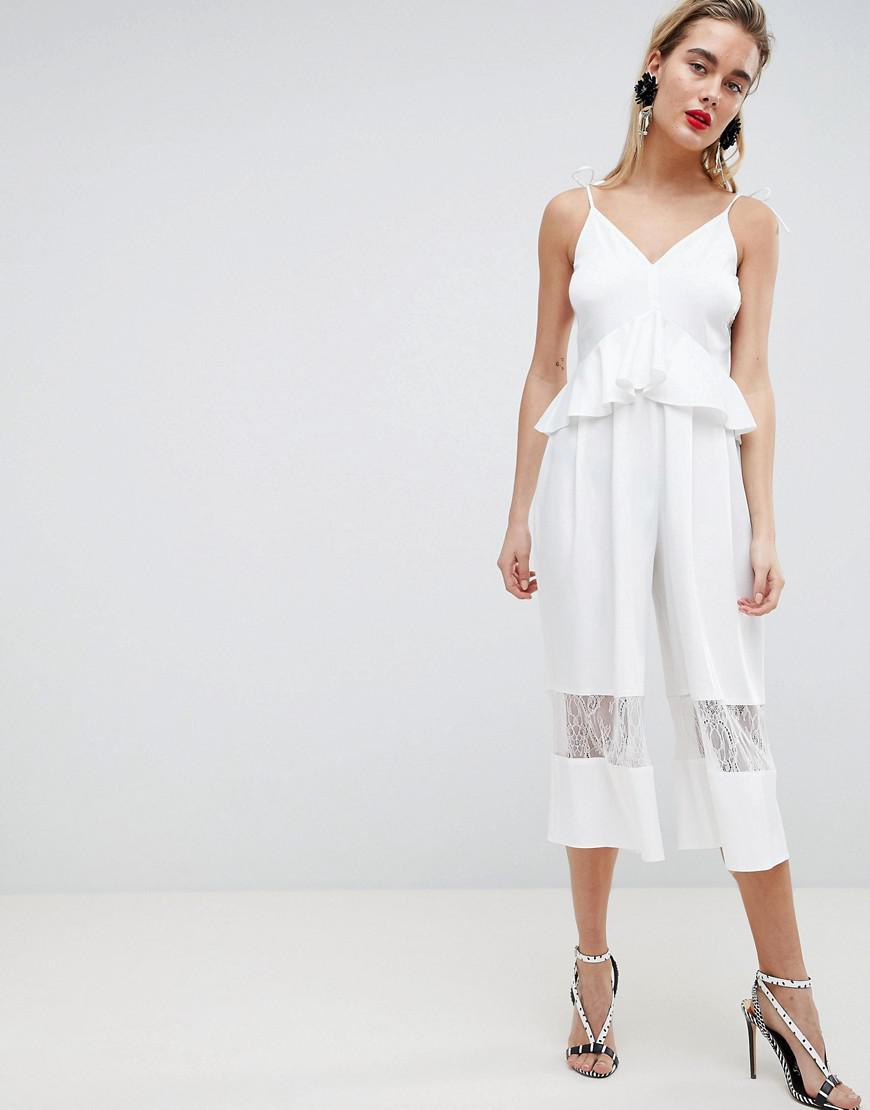 438836a87c3 ASOS Cami Jumpsuit With Peplum And Lace Insert in White - Lyst