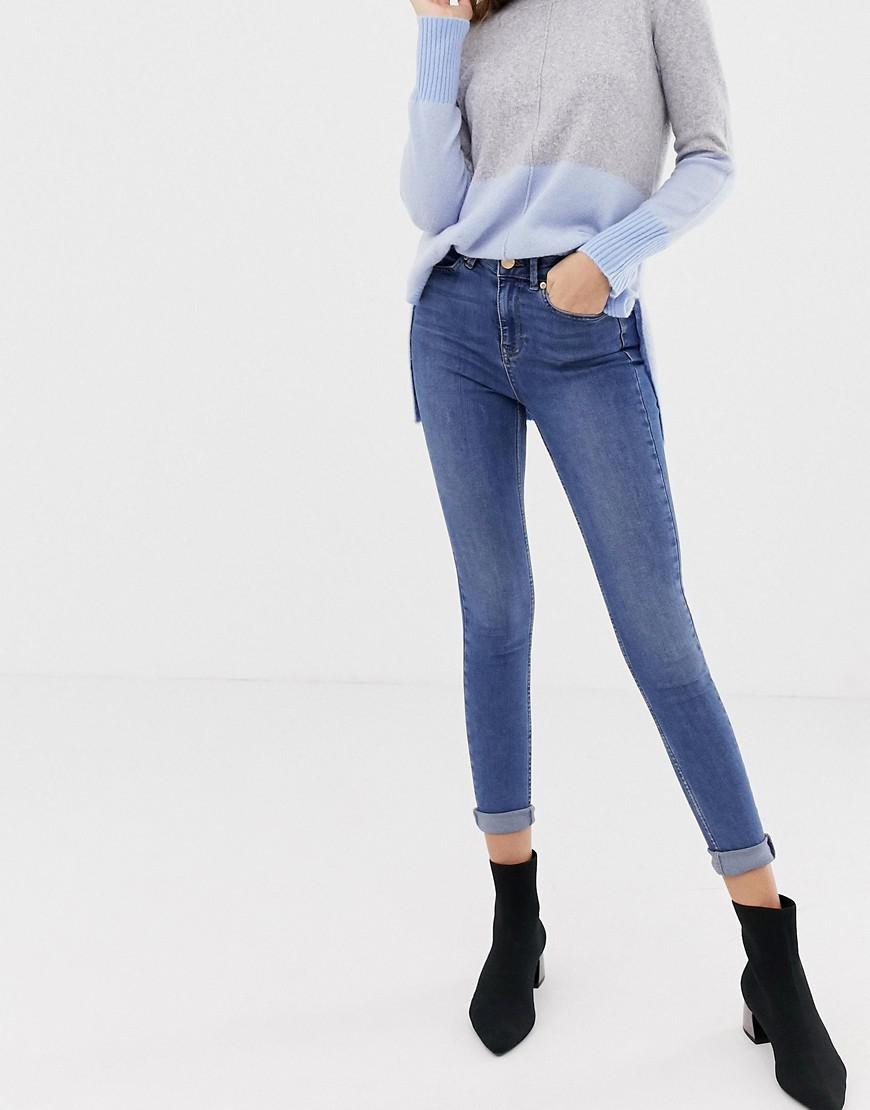 373e43db5746c6 Oasis Mid-rise Skinny Jeans In Mid Wash in Blue - Lyst