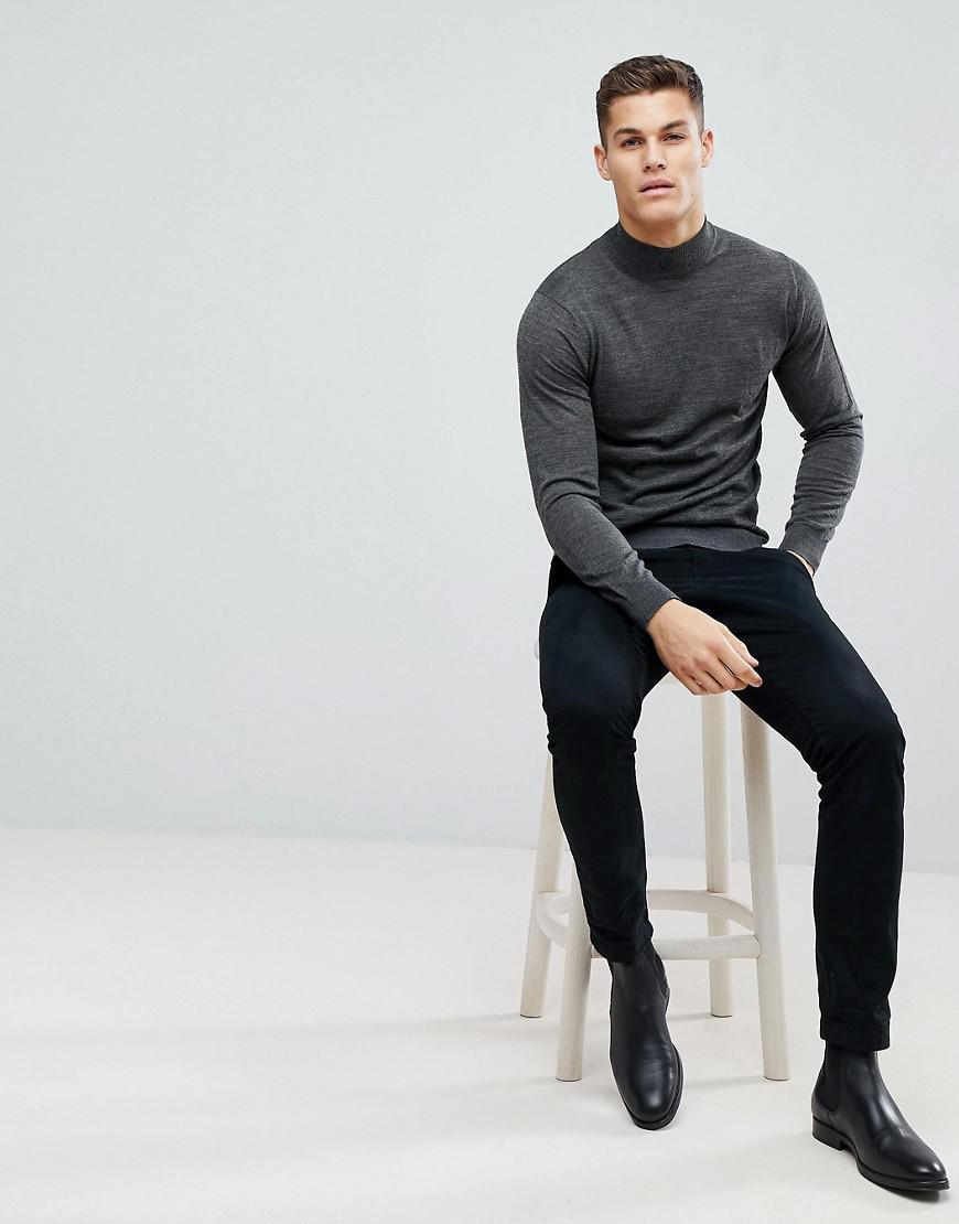 019793e91aec Stradivarius Merino Wool Turtleneck Sweater In Gray in Black for Men ...