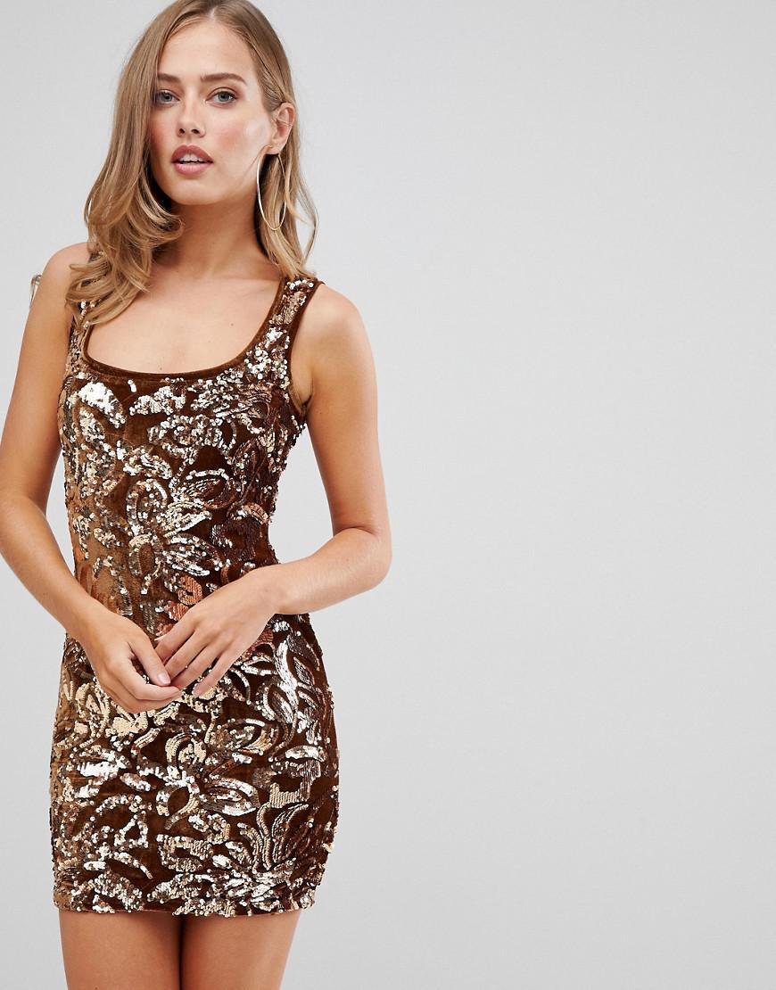 d4de1ece67 Flounce London Sequin Mini Dress In Gold Pattern in Metallic - Lyst