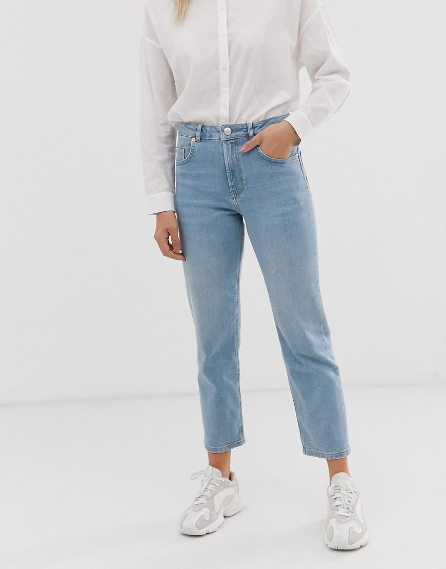 0c68a02e432dd ASOS. Women's Blue Florence Authentic Straight Leg Jeans In Low Stretch  Denim In Light Vintage Wash