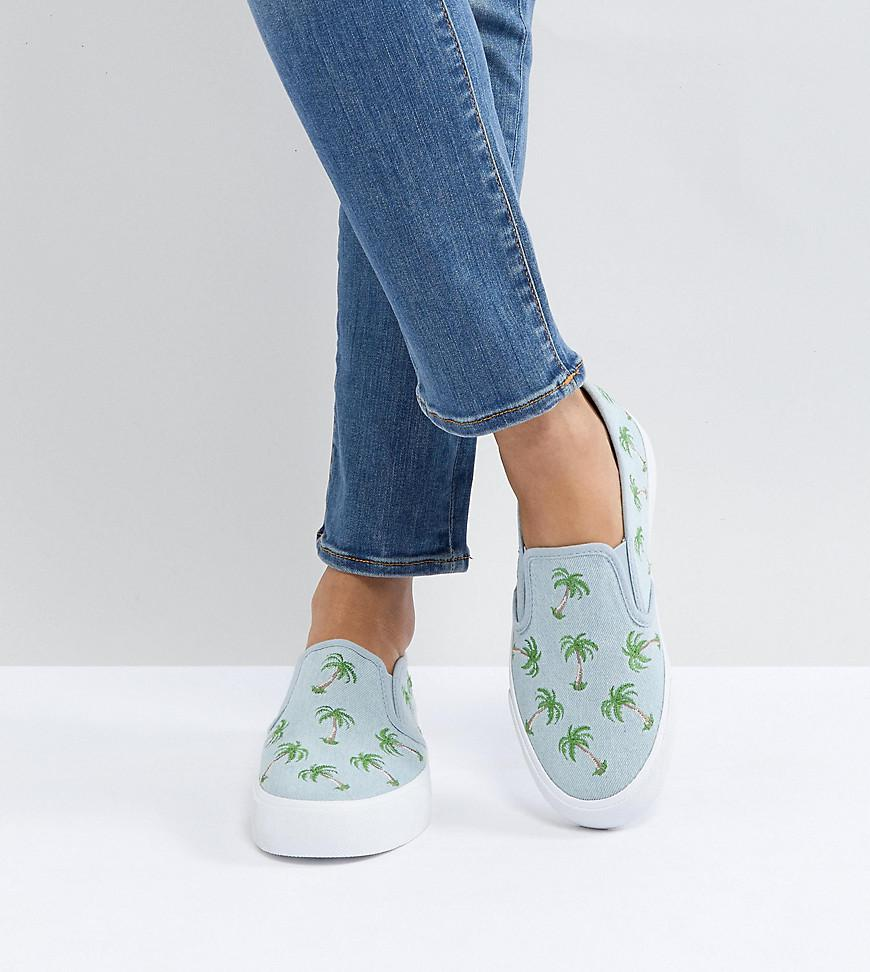 online store 06527 54a44 asos-blue-Asos-Dago-Palm-Tree-Embroidered-Plimsolls.jpeg