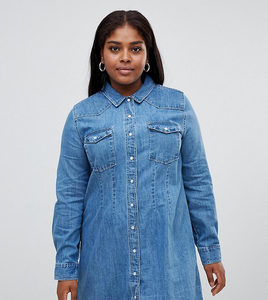 10a1e30dcb7 ASOS. Women s Blue Asos Design Curve Denim Fitted Western Shirt Dress With Seam  Detail