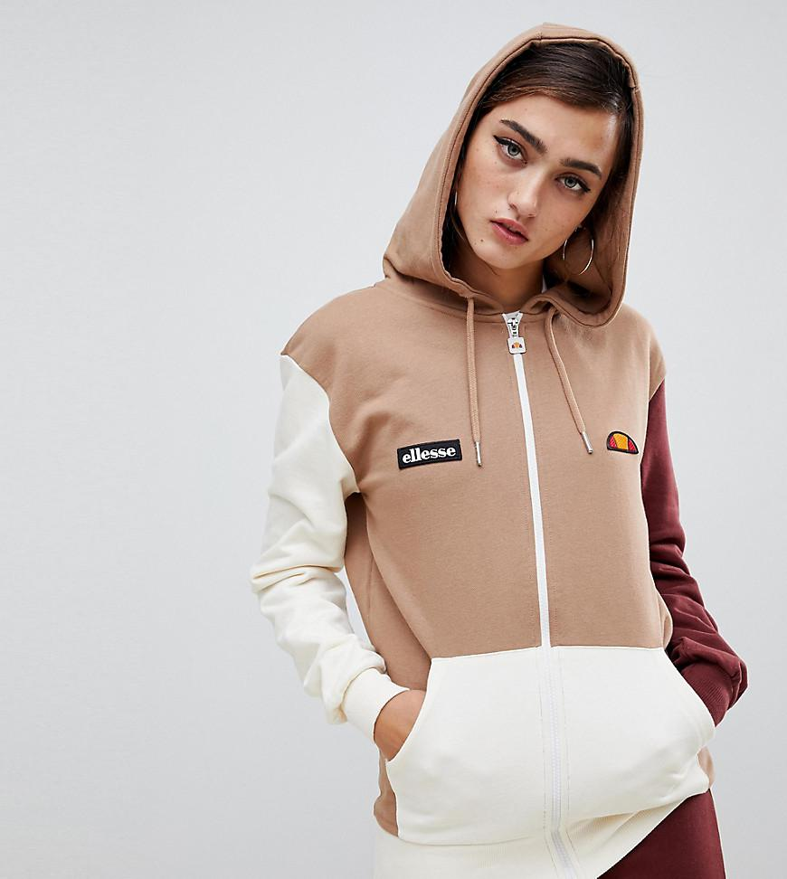 37950c498433 Lyst - Ellesse Zip Front Hoodie With Chest Logo In Color Block Two-piece