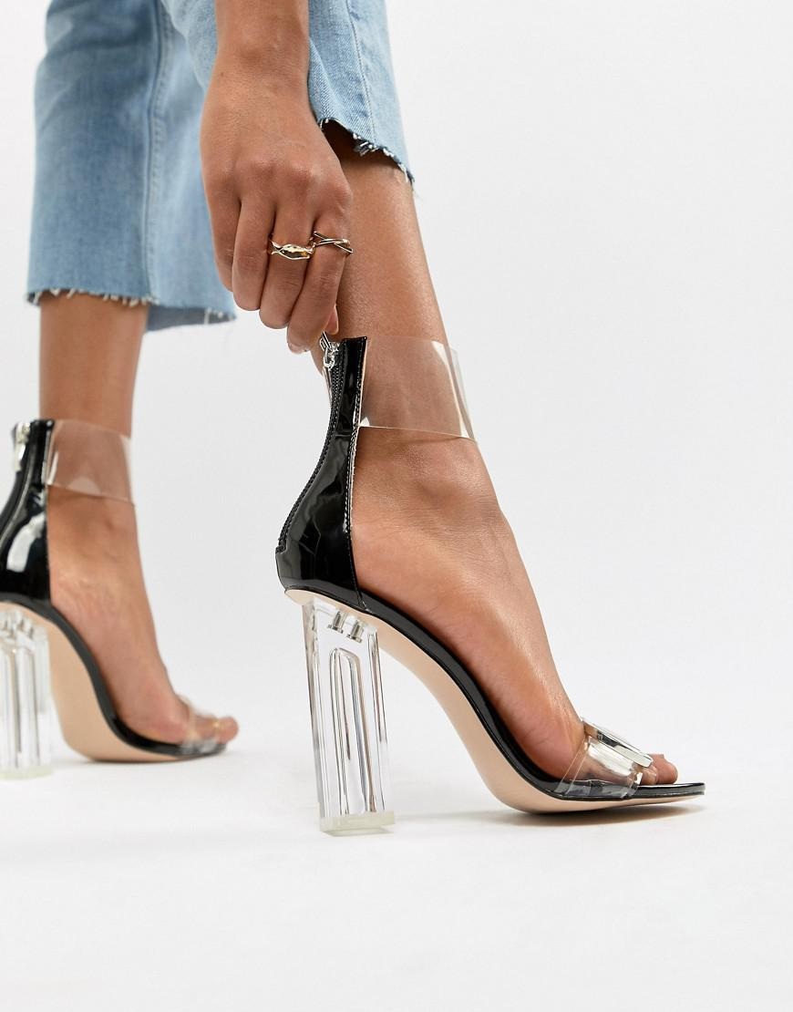 4de9f6ea1db Public Desire Mega Clear Detail Block Heeled Sandals in Black - Lyst