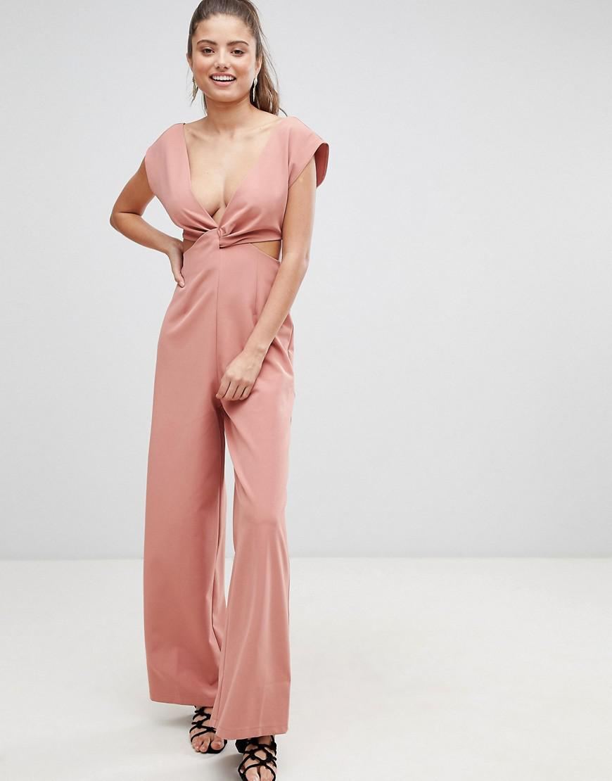 de6b4dbae0a ASOS Knot Front Jumpsuit With Cut Out Detail And Wide Leg in Green ...