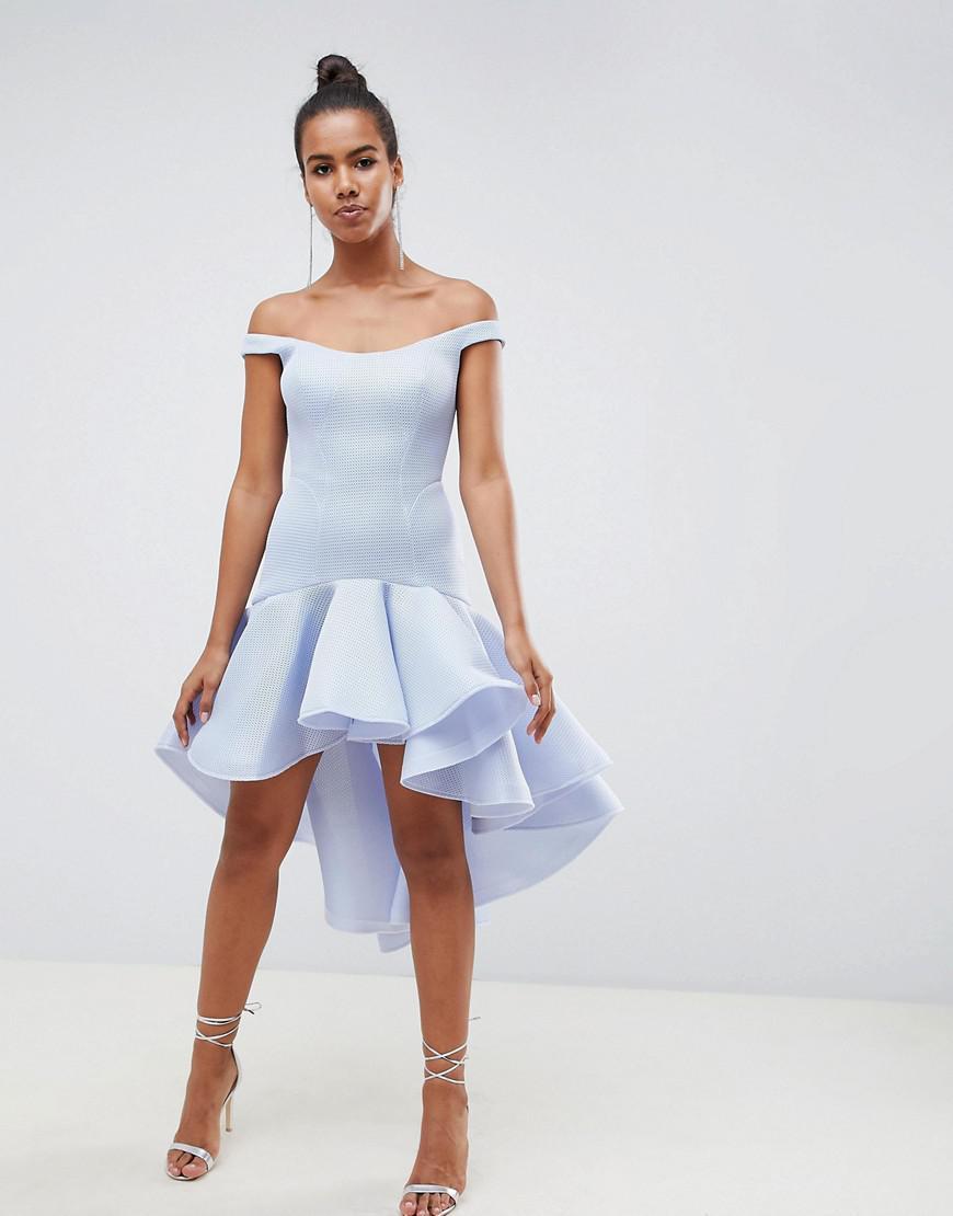 6c853e616c09e Lyst - ASOS Premium Sculptured Ruffle Midi Prom Dress in Gray