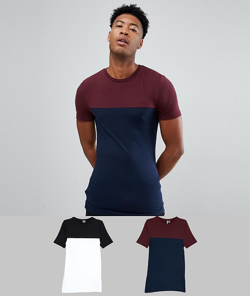 408c2be35 ASOS. Men's Blue Tall Muscle Fit T-shirt With Contrast Yoke 2 Pack Save