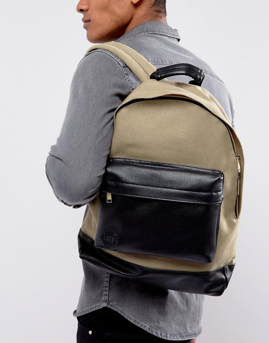 Mi-Pac Canvas Tumbled Backpack In Khaki   Black in Green for Men - Lyst 28a1624c97ddc