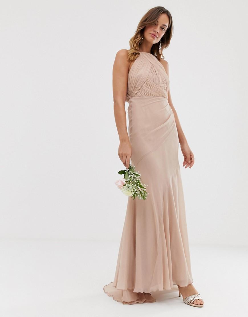 87f1dcbbd6 ASOS. Women's Gray Bridesmaid Pinny Bodice Maxi Dress With Fishtail Skirt