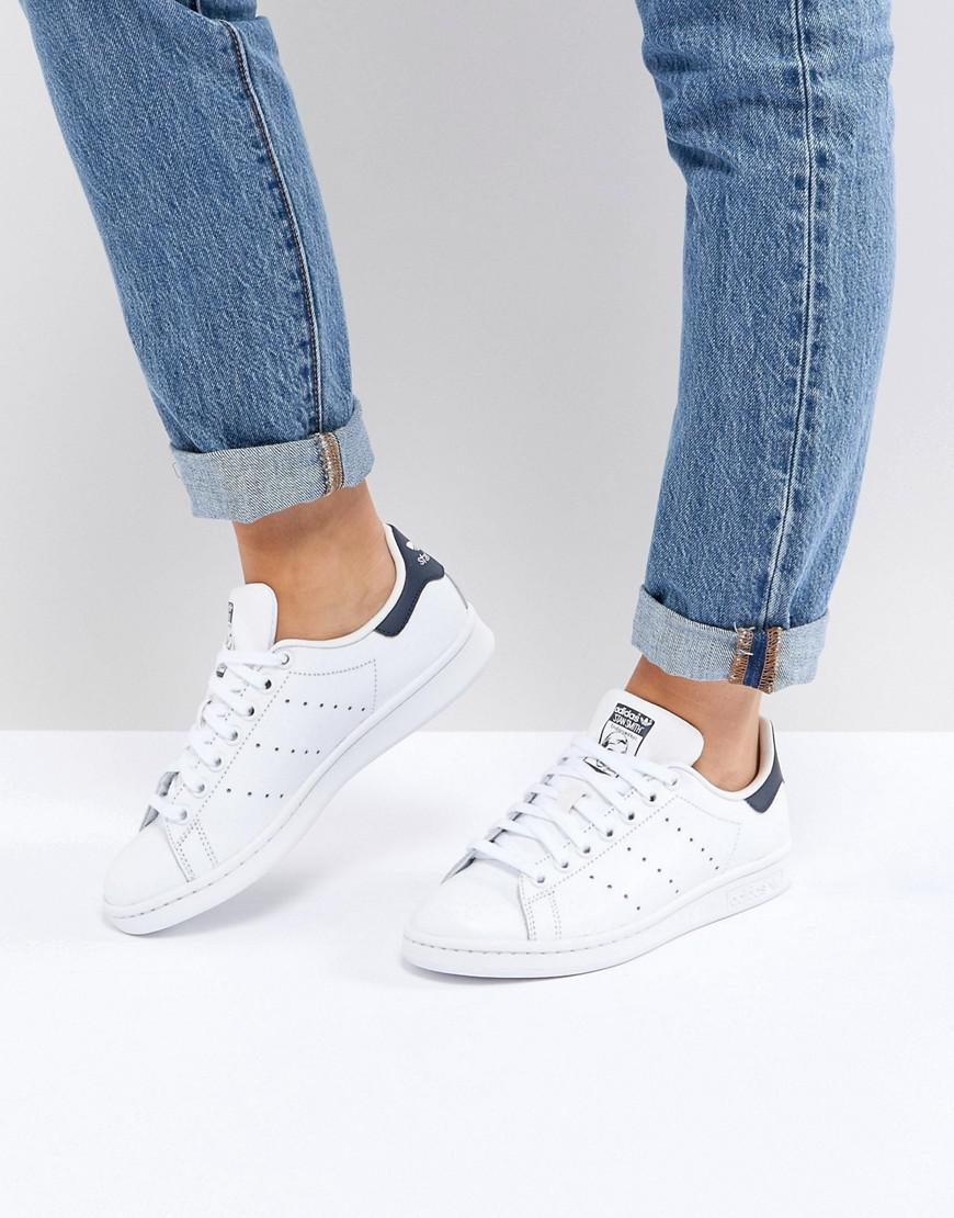 17812a3cced957 Adidas Originals Originals Unisex White And Navy Stan Smith Sneakers ...