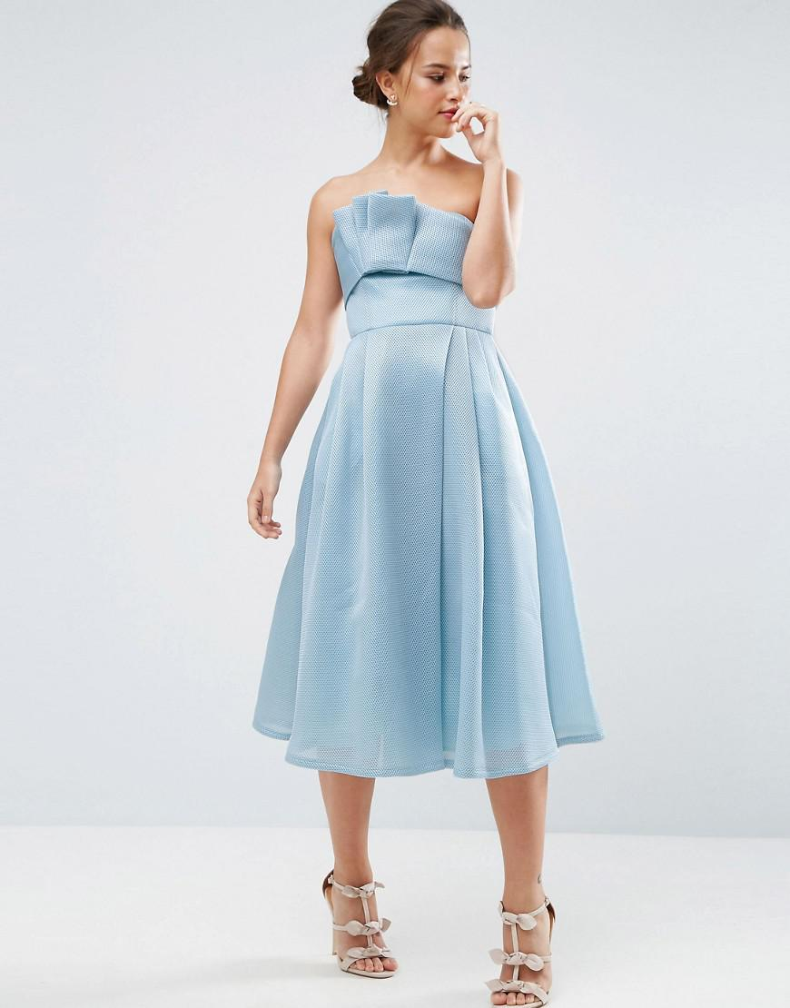 Lyst - Asos Premium Bandeau Airtex Fold Front Midi Dress in Blue