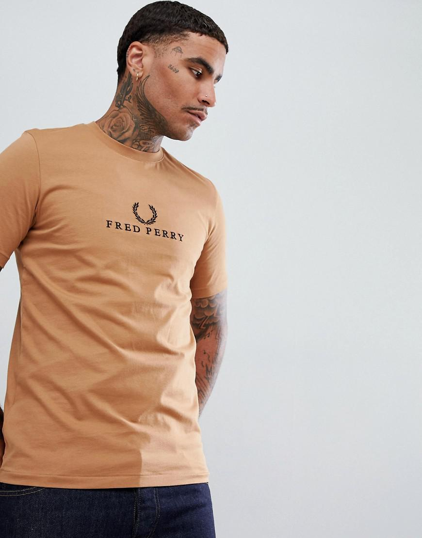 efd497f1 Fred Perry Sports Authentic 90s Embroidered Logo T-shirt In Camel ...