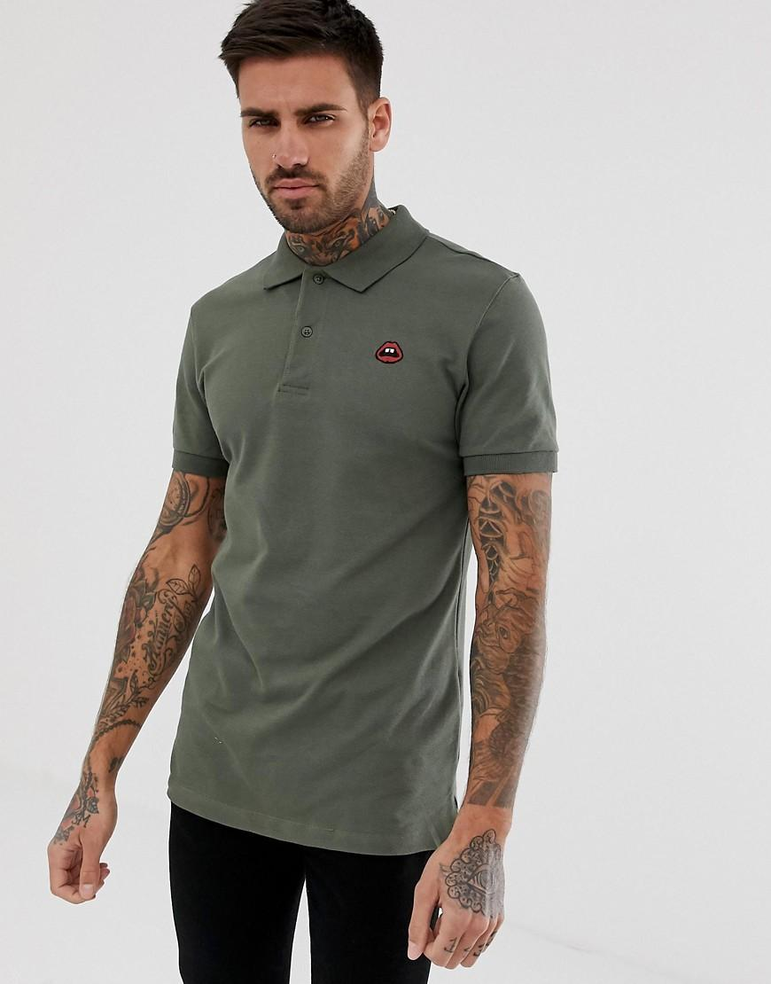 9d076946e Blend Slim Fit Polo With Lips Embroidery in Green for Men - Lyst