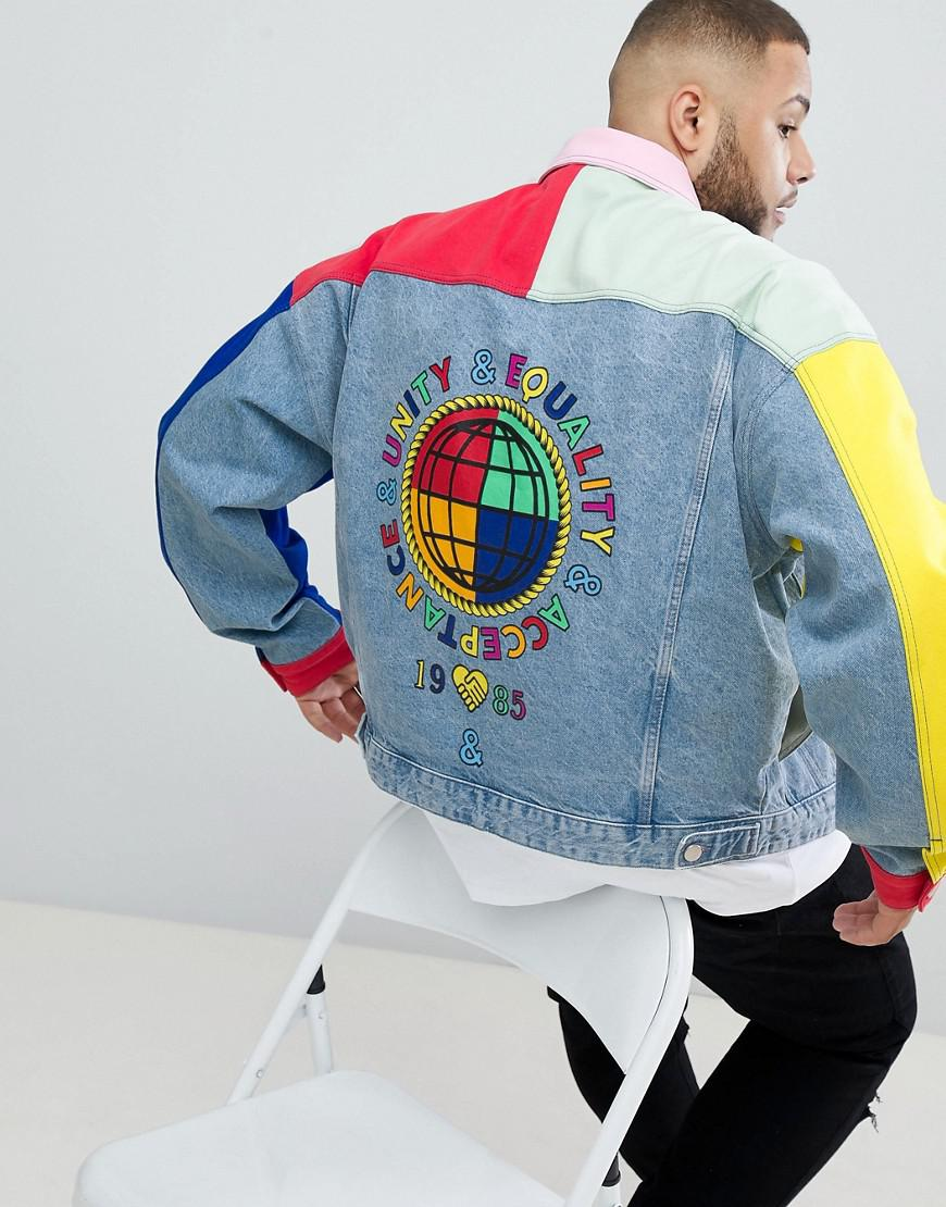 7eb18a5ef912 Lyst - ASOS X Glaad  Plus Denim Jacket In Colour Block in Blue for Men