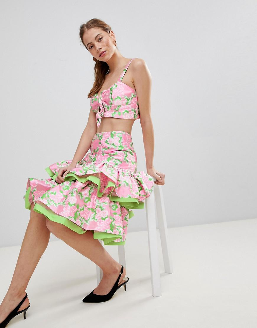 Pictures Online Discount Wholesale Price ASOS DESIGN midi skirt with double ruffle in floral jacquard co-ord Best Place Cheap Online High Quality MaJaklxaWe