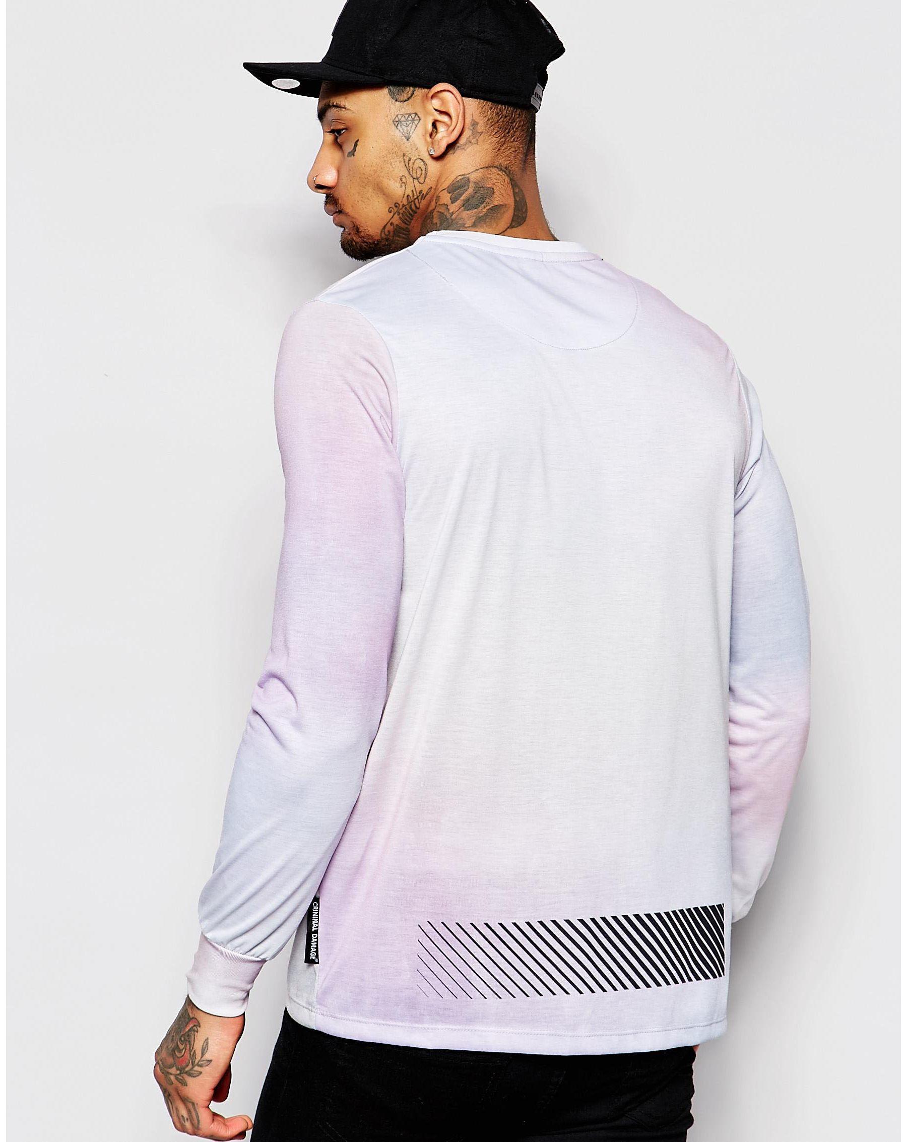 criminal damage long sleeve t shirt in pink for men lyst. Black Bedroom Furniture Sets. Home Design Ideas