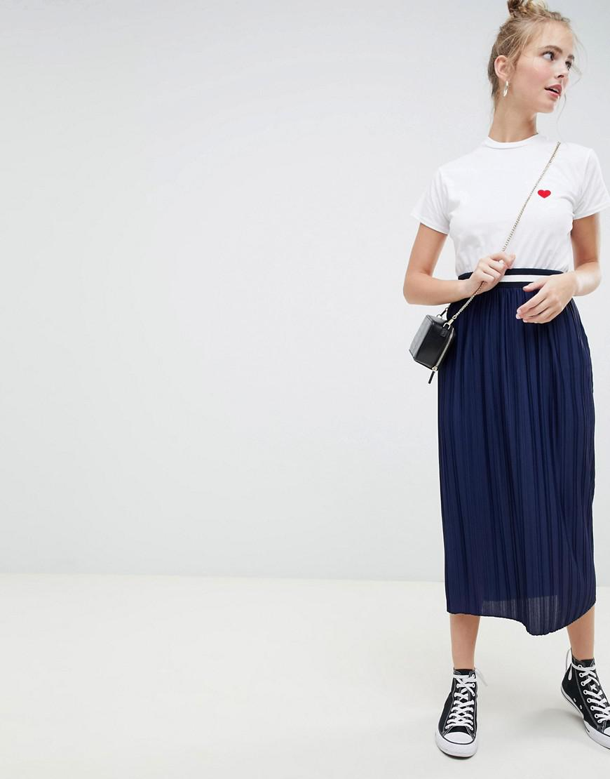 3d094d092273 Lyst - ASOS Pleated Midi Skirt With Sport Tipping Waist Band in Blue