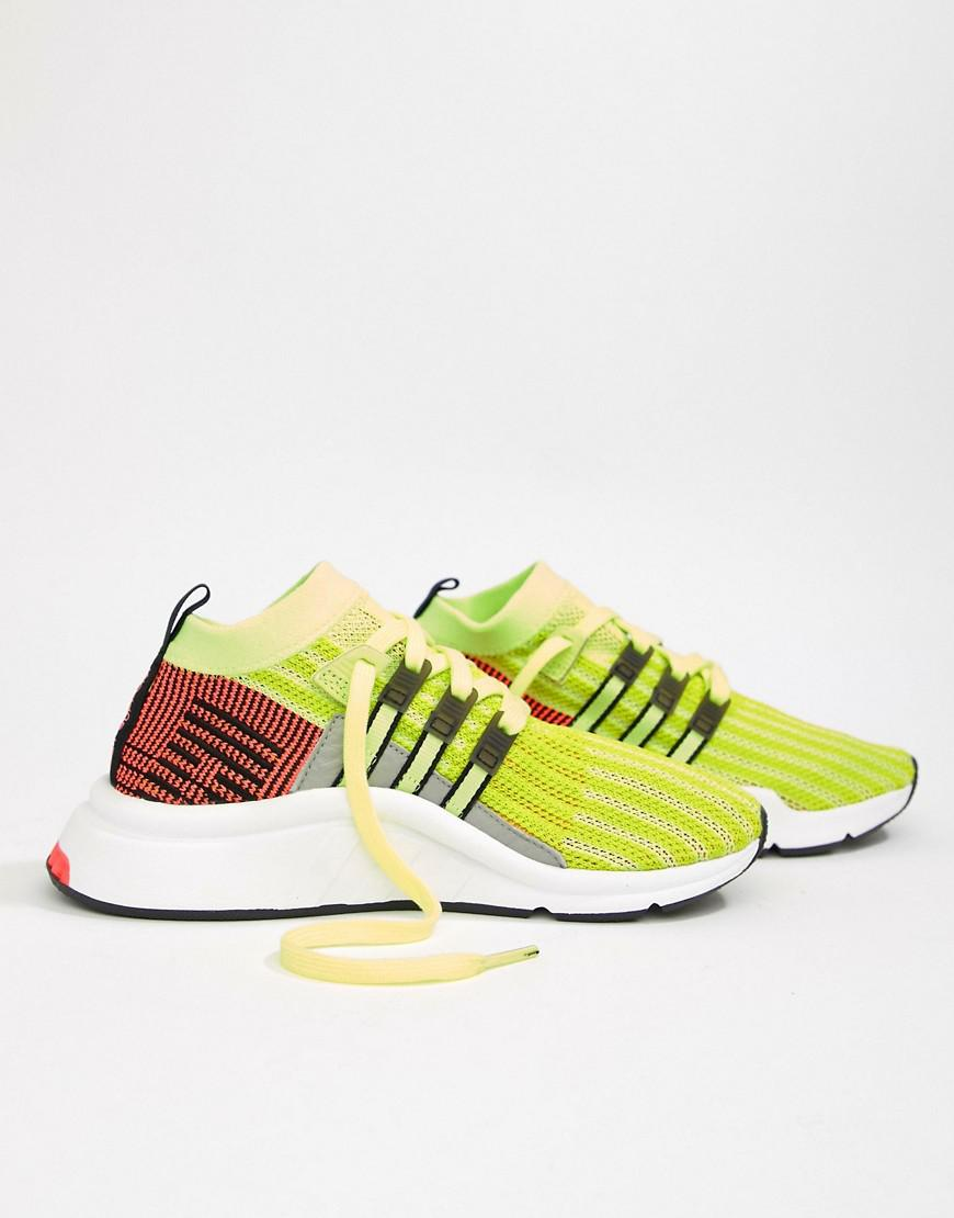 Lyst - adidas Originals Eqt Support Mid Adv Sneakers In Lime And ... d16db83319f94