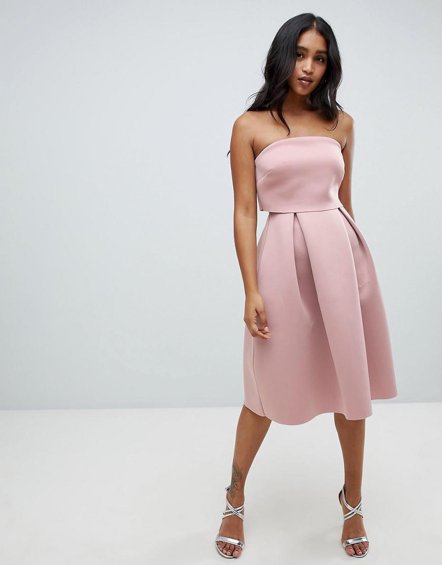 4845dd51f34 Lyst - ASOS Bandeau Crop Top Midi Prom Dress in Brown