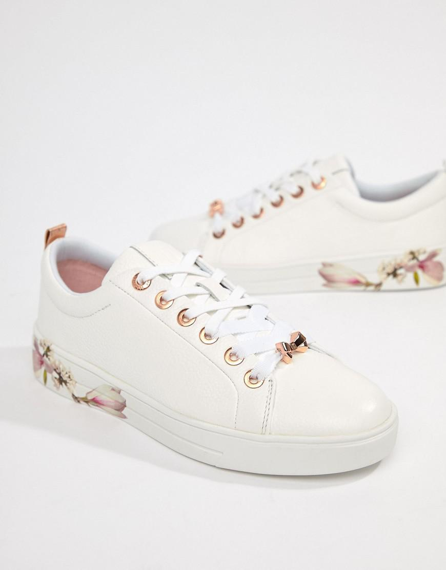 36adb3d5147fd9 Lyst - Ted Baker Kelleip Leather Floral Placement Trainer in White