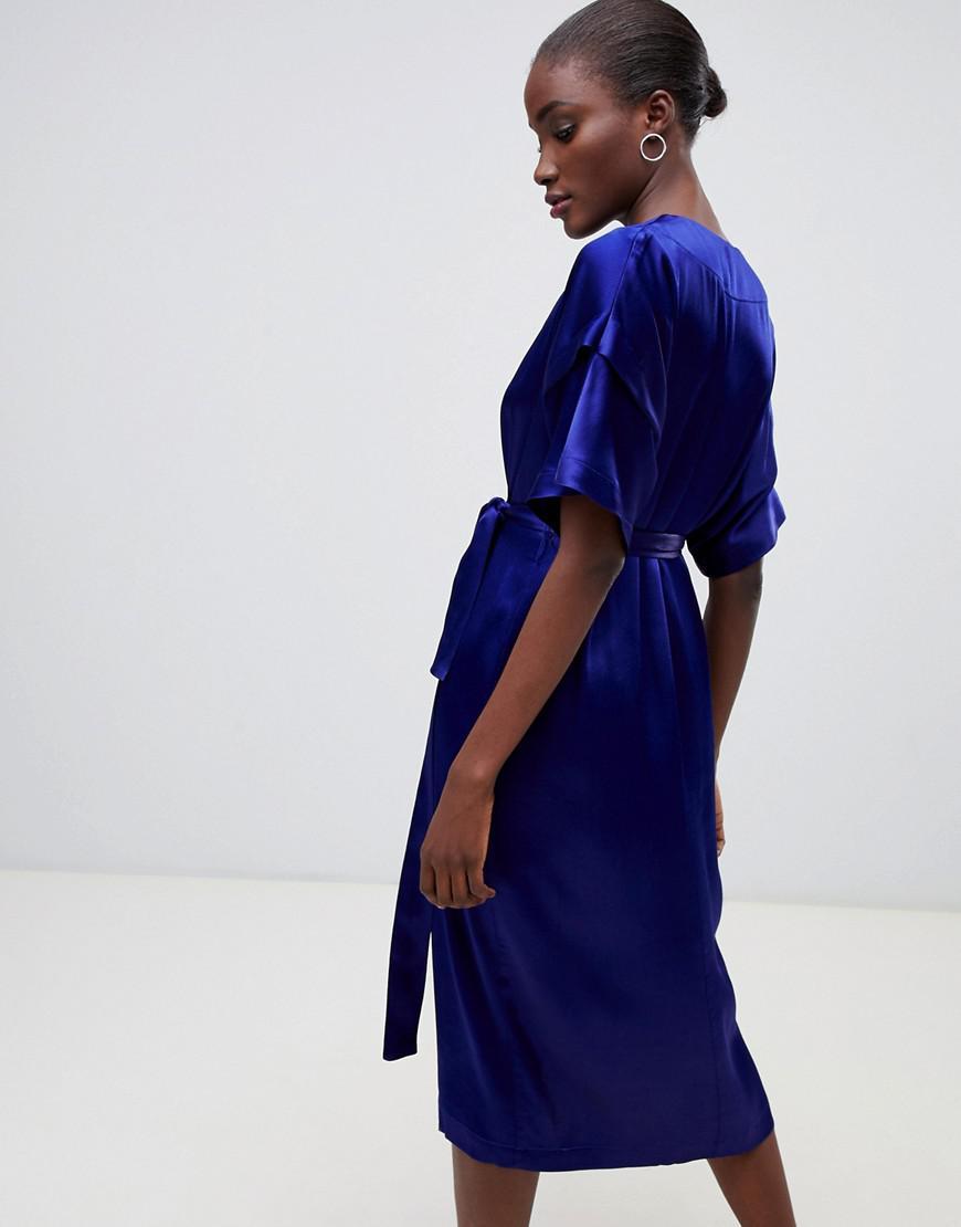 f86e8fc5670 Finery London Constable Luxe Sateen Wrap Dress in Blue - Lyst