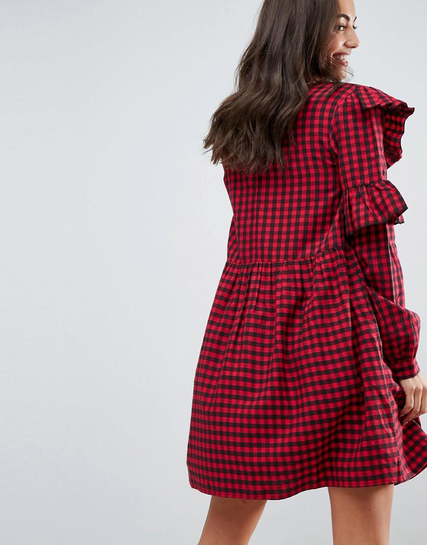 3236504b1077b ASOS Ultimate Gingham Smock Mini Dress With Ruffles in Red - Save 29% - Lyst