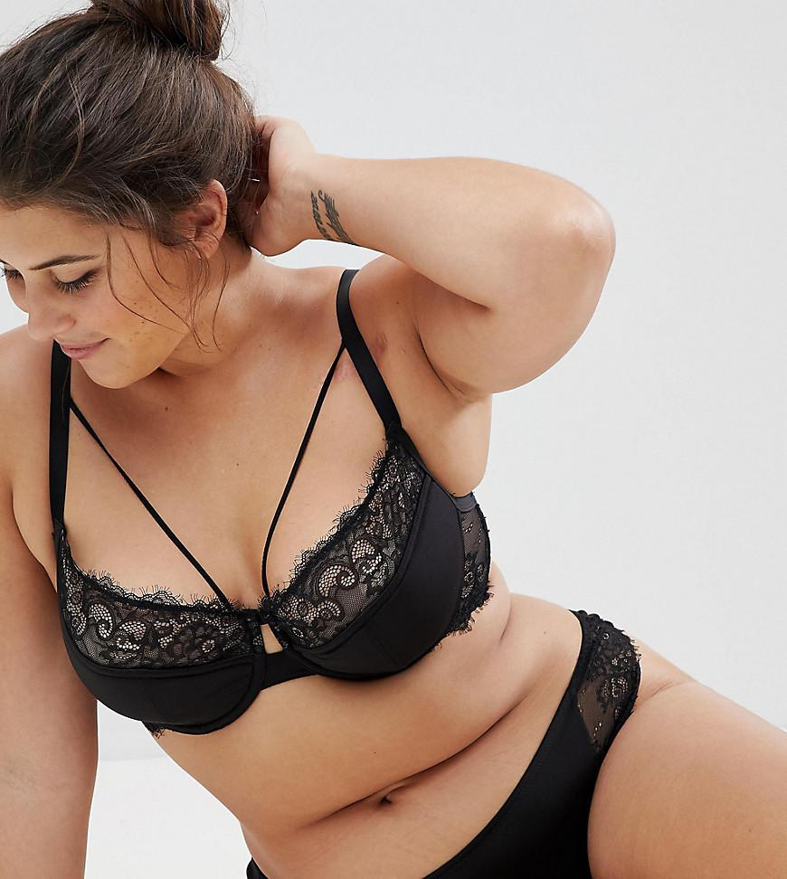 3f2c67493ac3f Lyst - ASOS Veda Microfibre   Lace Padded Underwire Bra in Black