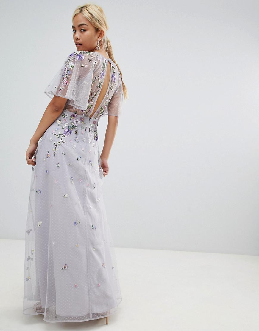 d97d0e80bfbc Lyst - ASOS Asos Design Petite Floral Embroidered Dobby Mesh Flutter Sleeve  Maxi Dress in Gray - Save 50%