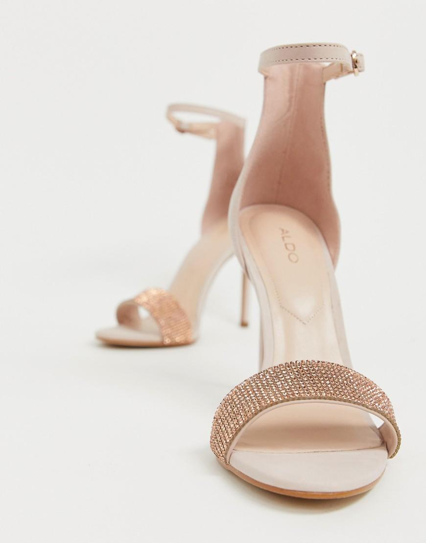c3ff154cd45 ALDO Heeled Leather Sandals in Pink - Lyst