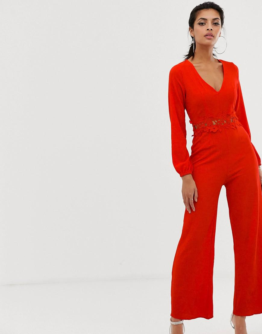 e4b19dee941 AX Paris Long Sleeve Jumpsuit With Belt Detail in Red - Lyst