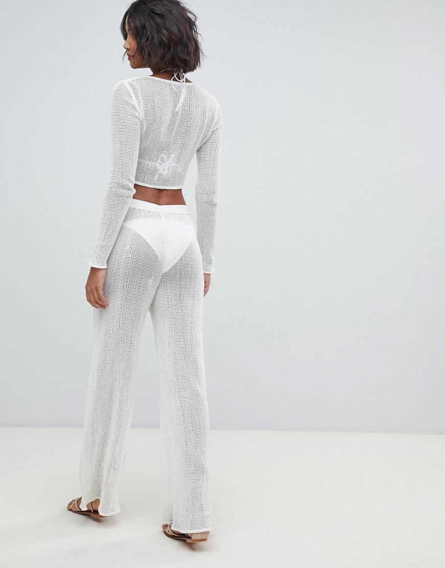 ec6f8eaa7e9c Akasa Exclusive Loose Knit Mesh Beach Two-piece In White in White - Lyst