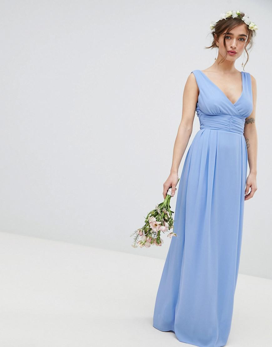 ded86f2e96 Lyst - TFNC London Wrap Front Maxi Bridesmaid Dress With Tie Back in Blue