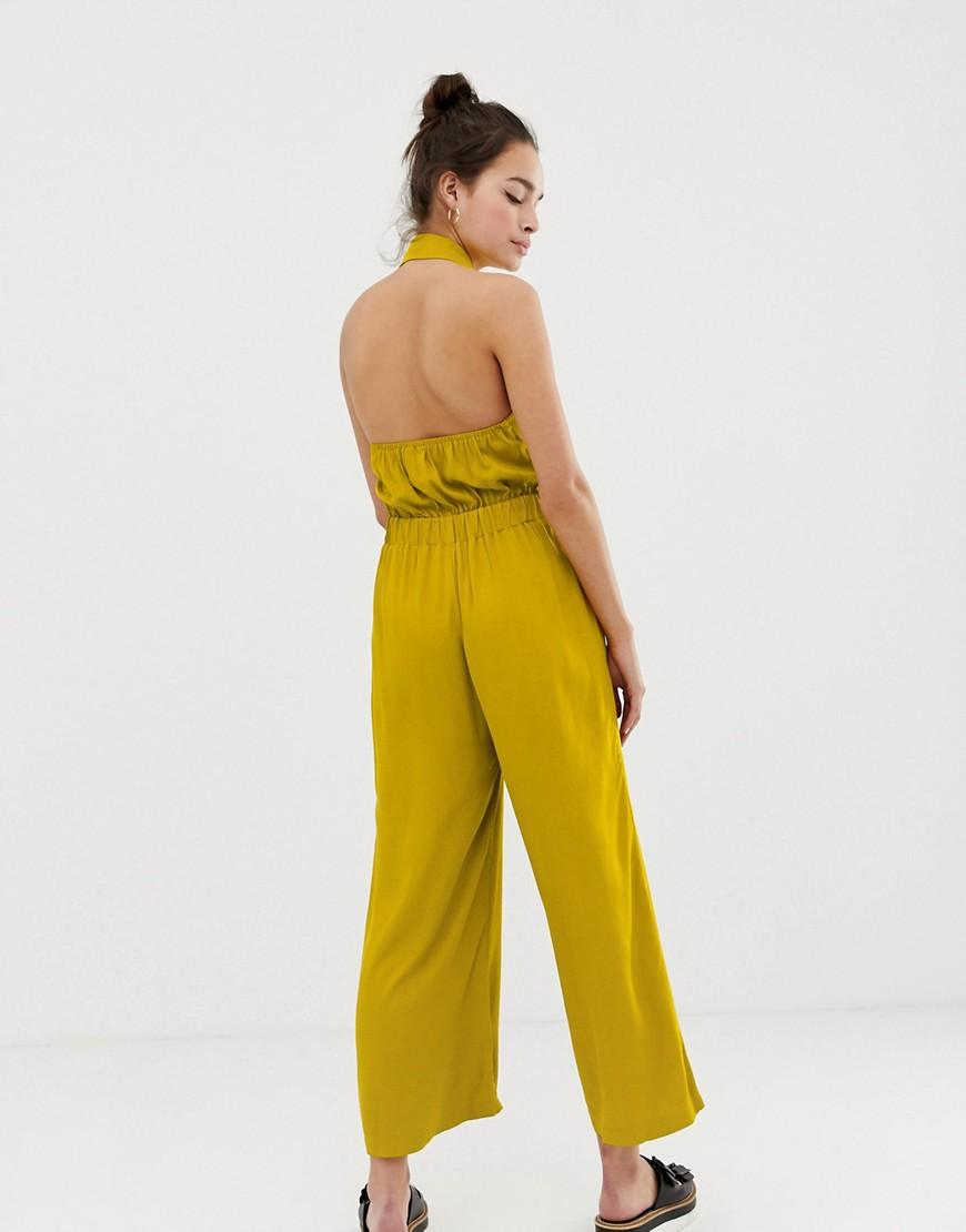 c3fb6997f0c5 Lyst - ASOS Button Front Collar Culotte Jumpsuit in Yellow
