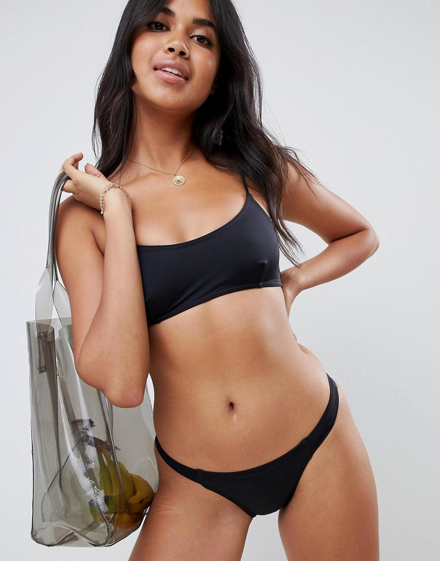 c298f46018769 Lyst - ASOS Recycled Mix And Match Strappy Back Crop Bikini Top in Black
