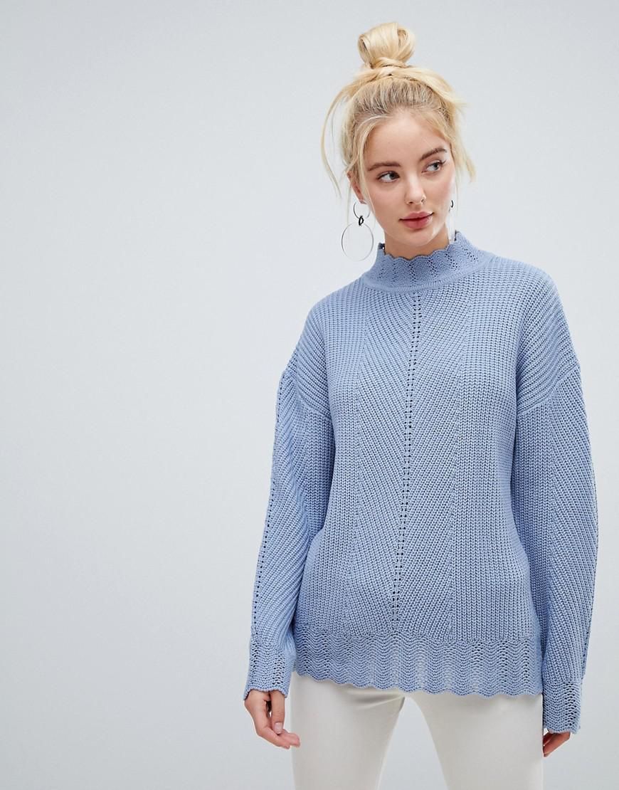 High Multi In Rib Union Neck Sweater Knit Fashion Lyst Blue gXqR5PwR