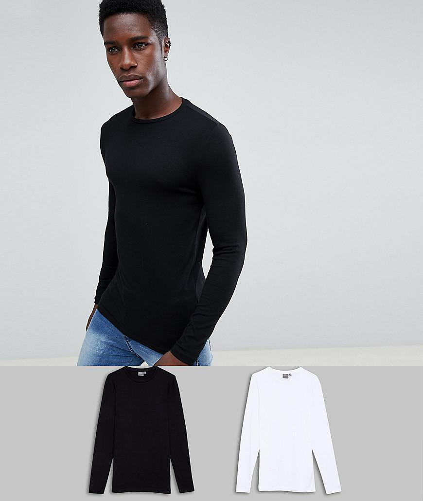 7ee8824f ASOS. Men's Black Muscle Fit Long Sleeve Crew Neck T-shirt With Stretch 2 Pack  Multipack Saving