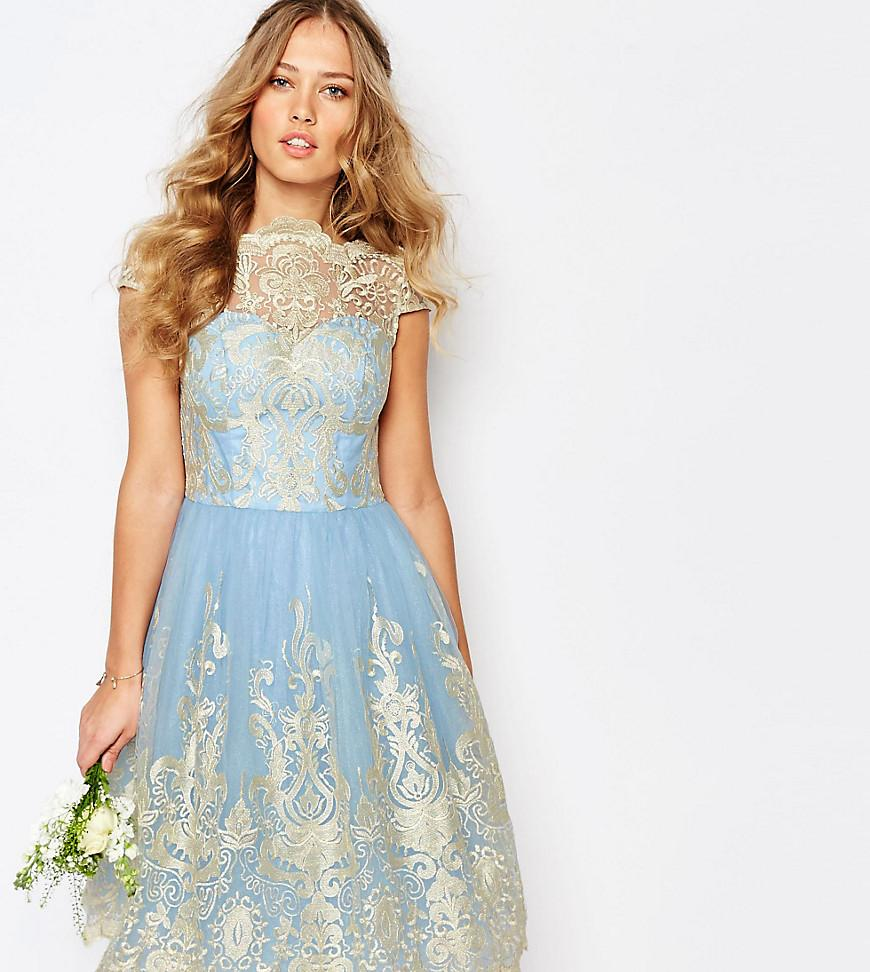 6c6ef772ee Chi Chi London. Women s Blue Premium Metallic Lace Midi Prom Dress With  Bardot Neck