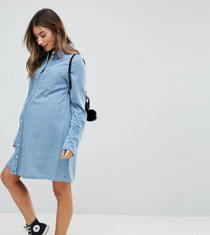 Lyst asos asos design maternity denim shirt dress with deep cuff asos womens asos design maternity denim shirt dress ombrellifo Gallery