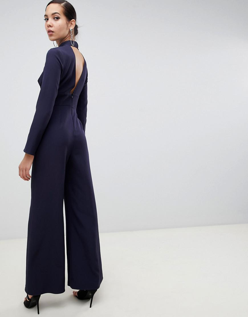 aff29b7e78d Missguided Key Hole Kimono Sleeve Jumpsuit In Navy in Blue - Lyst