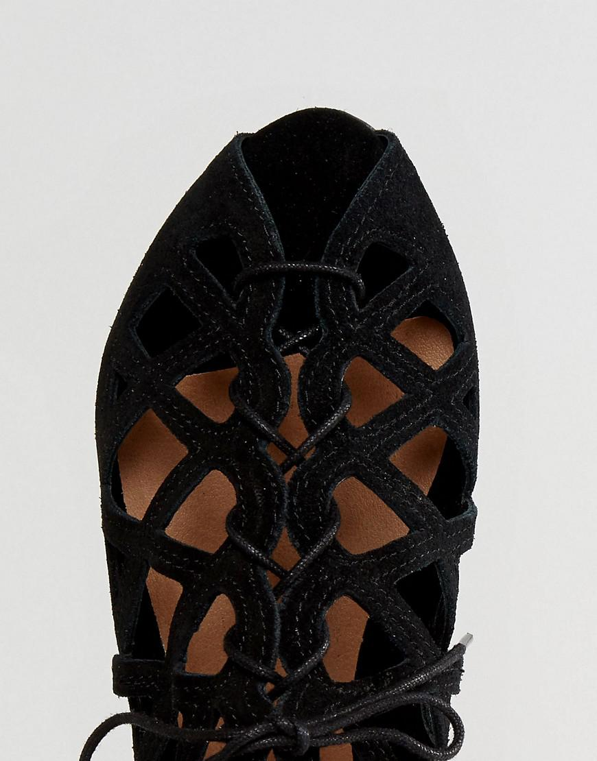 5498e4fa0009 Office Leather Cutout Flat Sandals in Black - Lyst