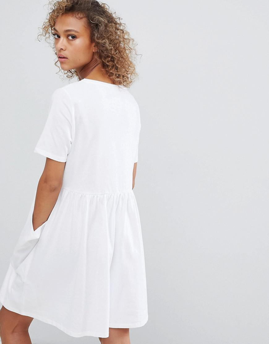 420ee7a64d5 Lyst - ASOS Button Front Smock Dress With Pockets in White