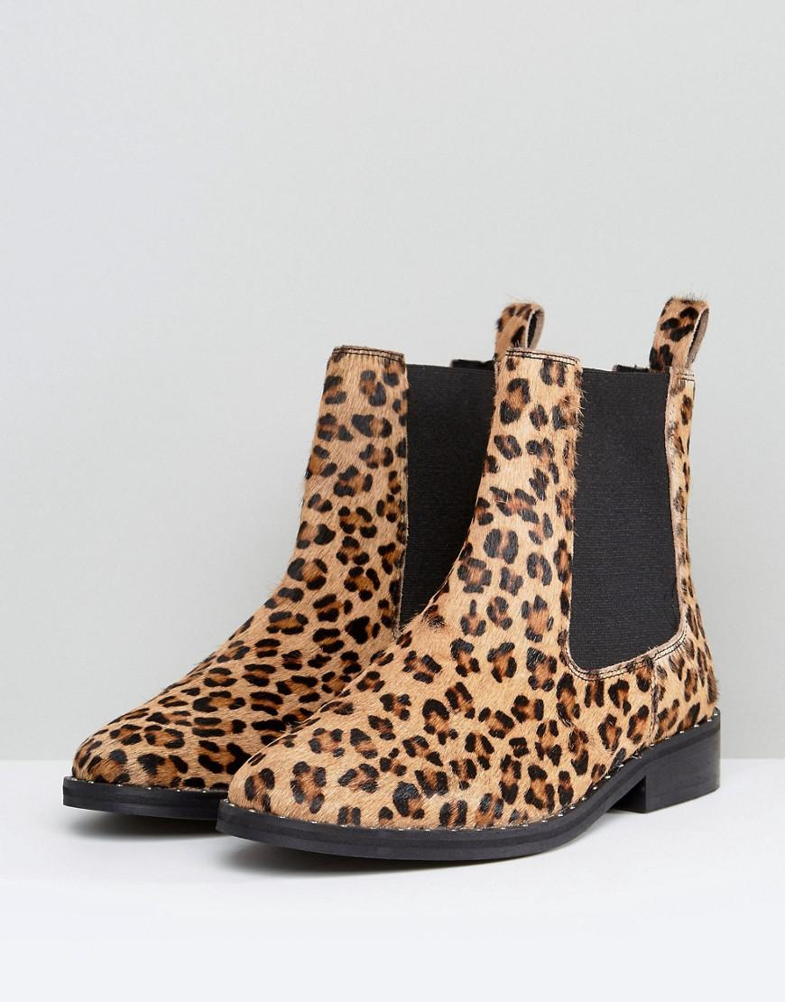 d245368c48f2 River Island Faux Pony Hair Leopard Print Chelsea Boots in Brown - Lyst