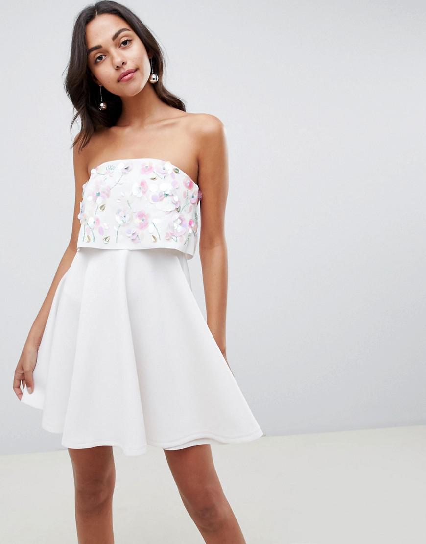 ASOS. Women s White Scuba Embellished Crop Top Bandeau Skater Mini Dress 8d74d078372