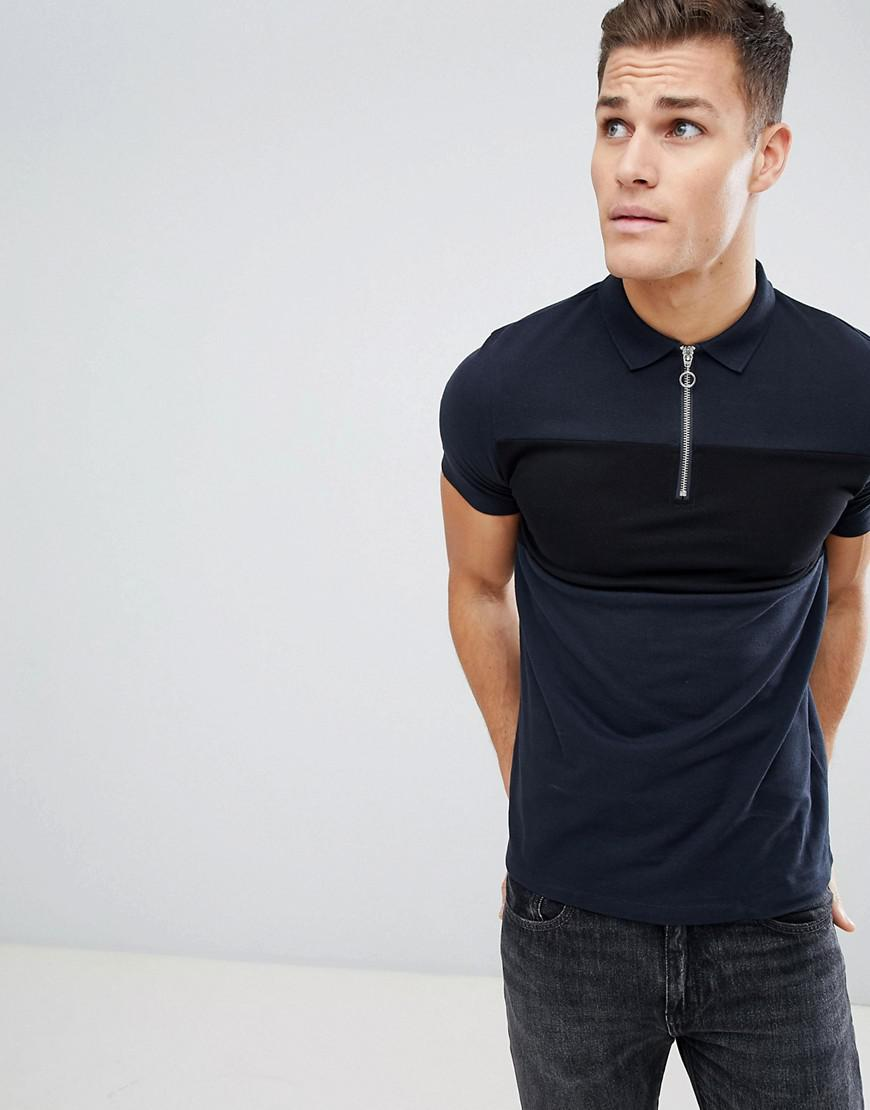 9470a85f8fb ASOS Pique Polo Shirt With Zip Neck And Contrast Panel in Blue for ...